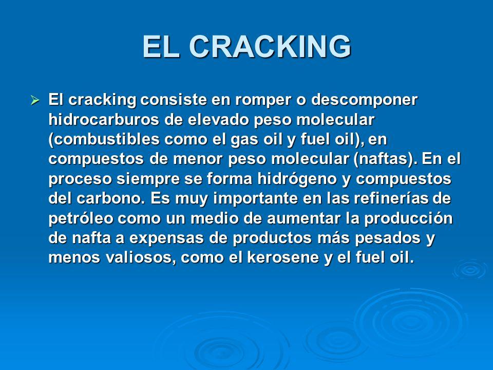 EL CRACKING El cracking consiste en romper o descomponer hidrocarburos de elevado peso molecular (combustibles como el gas oil y fuel oil), en compues