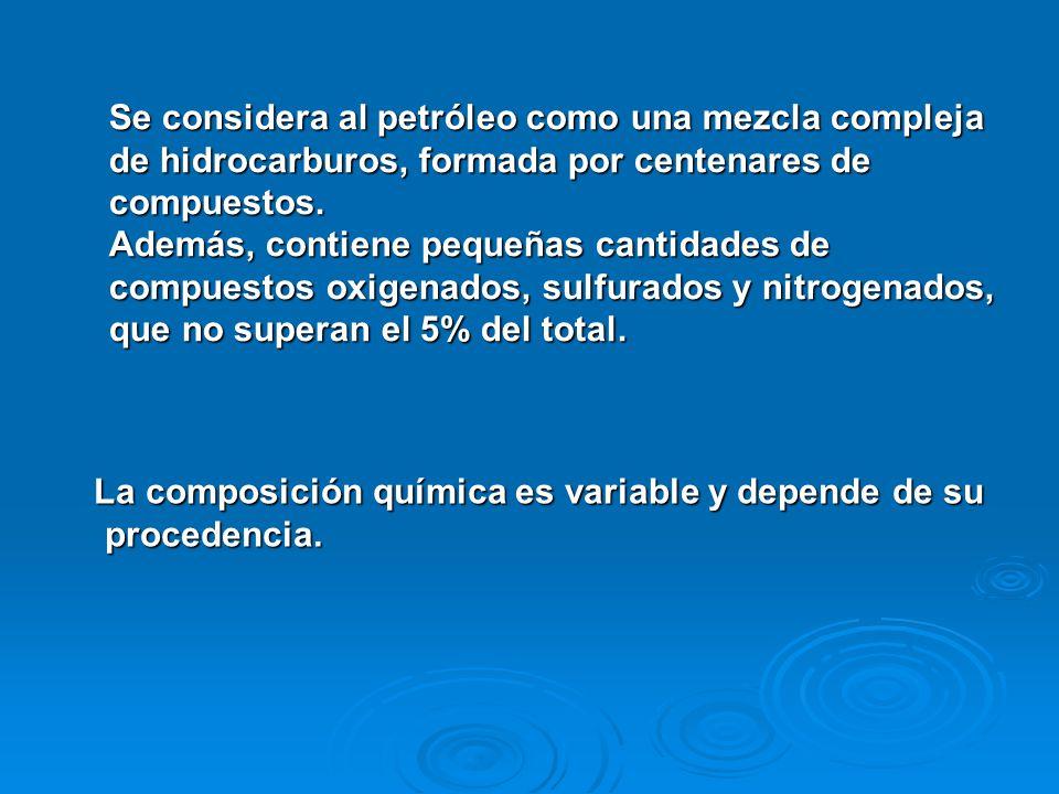 Se considera al petróleo como una mezcla compleja de hidrocarburos, formada por centenares de compuestos. Además, contiene pequeñas cantidades de comp