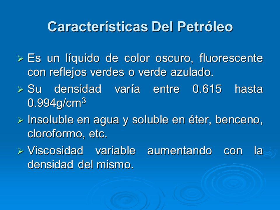Características Del Petróleo Es un líquido de color oscuro, fluorescente con reflejos verdes o verde azulado. Es un líquido de color oscuro, fluoresce
