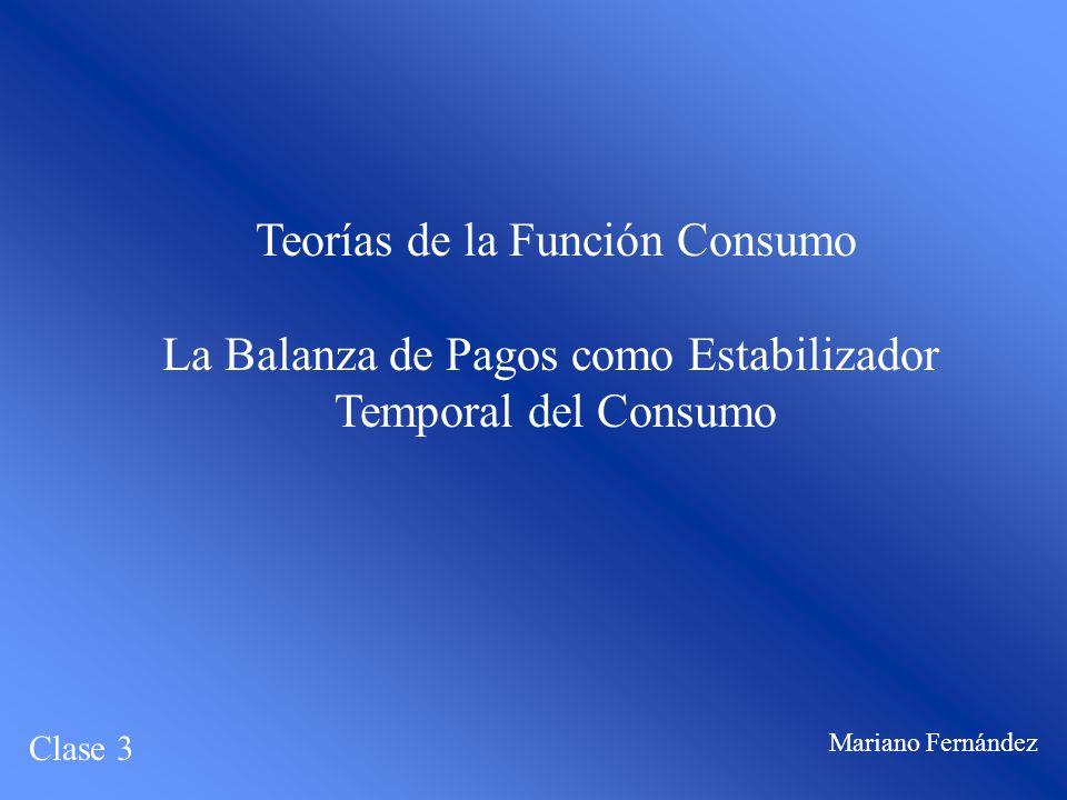 Teorías de la Función Consumo La Balanza de Pagos como Estabilizador Temporal del Consumo Clase 3 Mariano Fernández