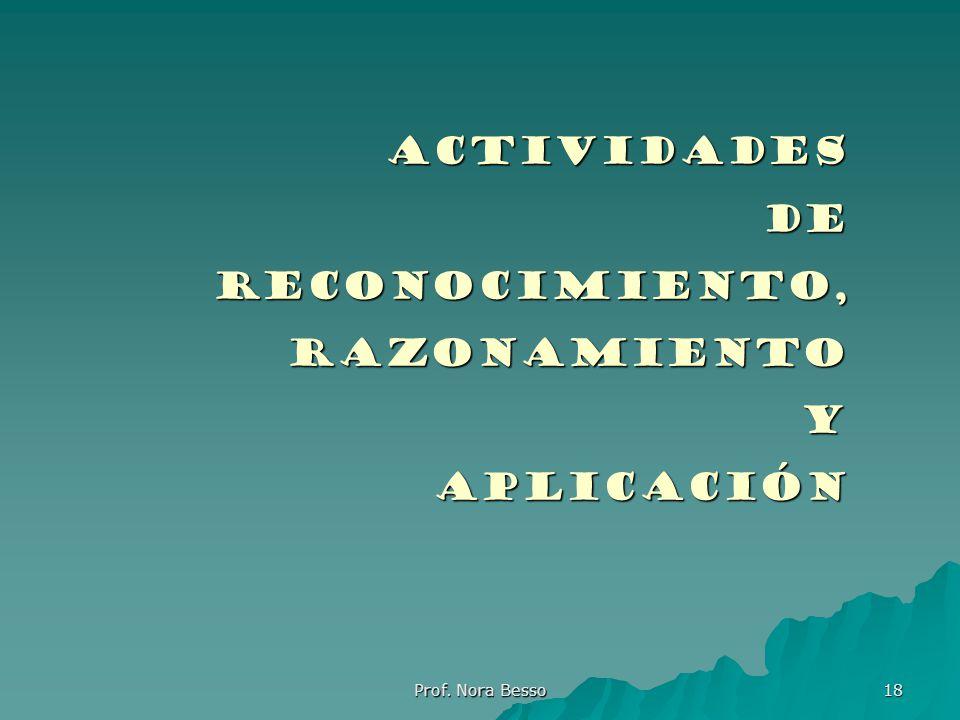 Prof. Nora Besso 18 ActividadesDeReconocimiento, razonamiento razonamientoyaplicación