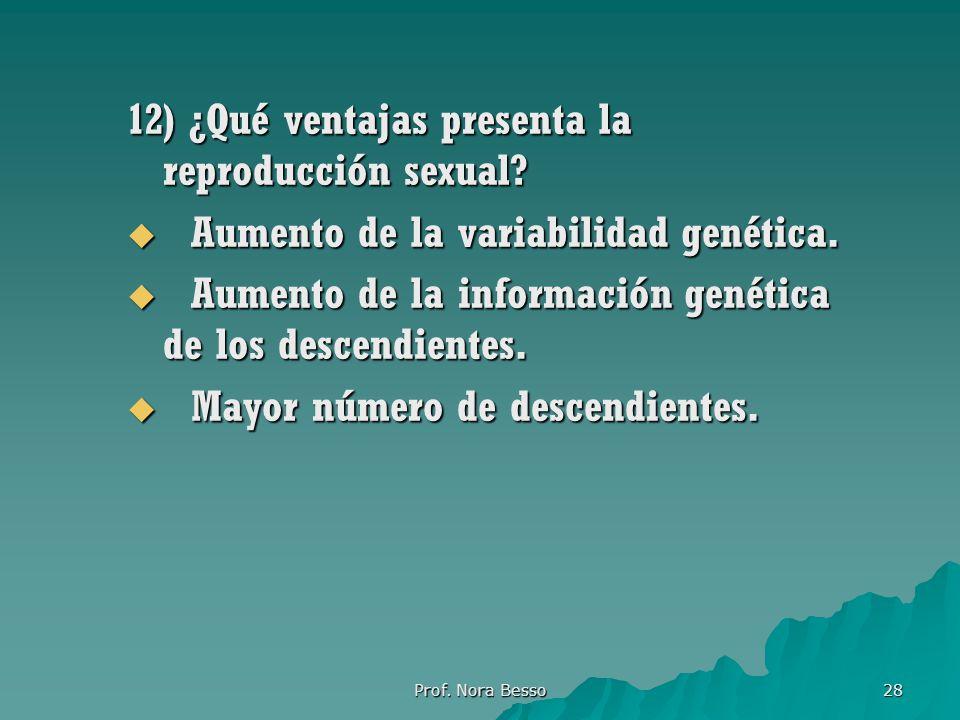 Prof.Nora Besso 28 12) ¿Qué ventajas presenta la reproducción sexual.