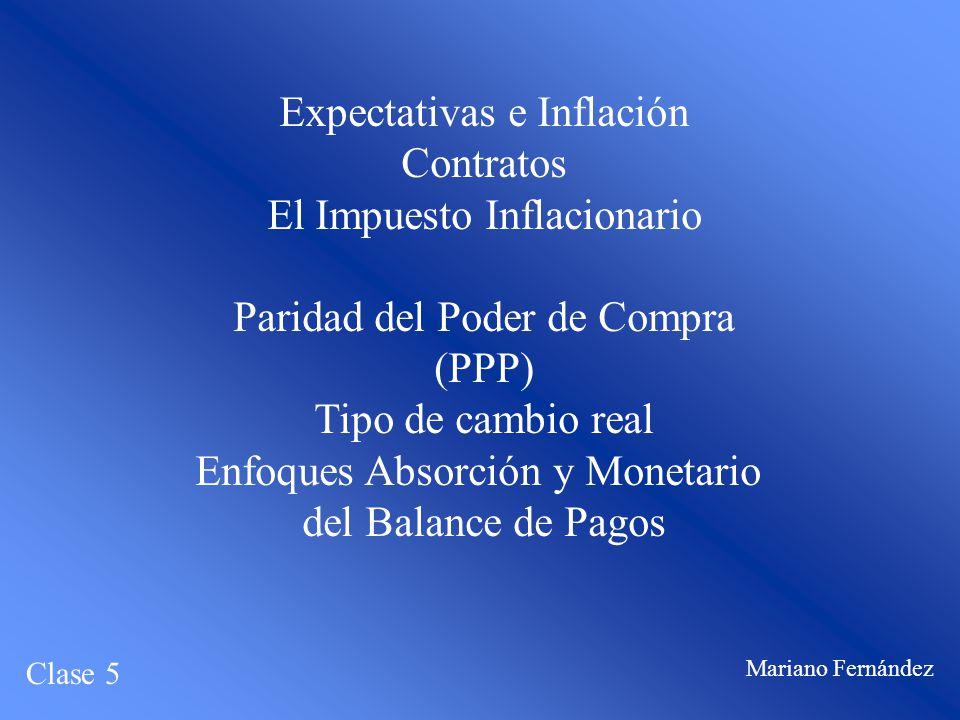 Expectativas e Inflación Contratos El Impuesto Inflacionario Paridad del Poder de Compra (PPP) Tipo de cambio real Enfoques Absorción y Monetario del