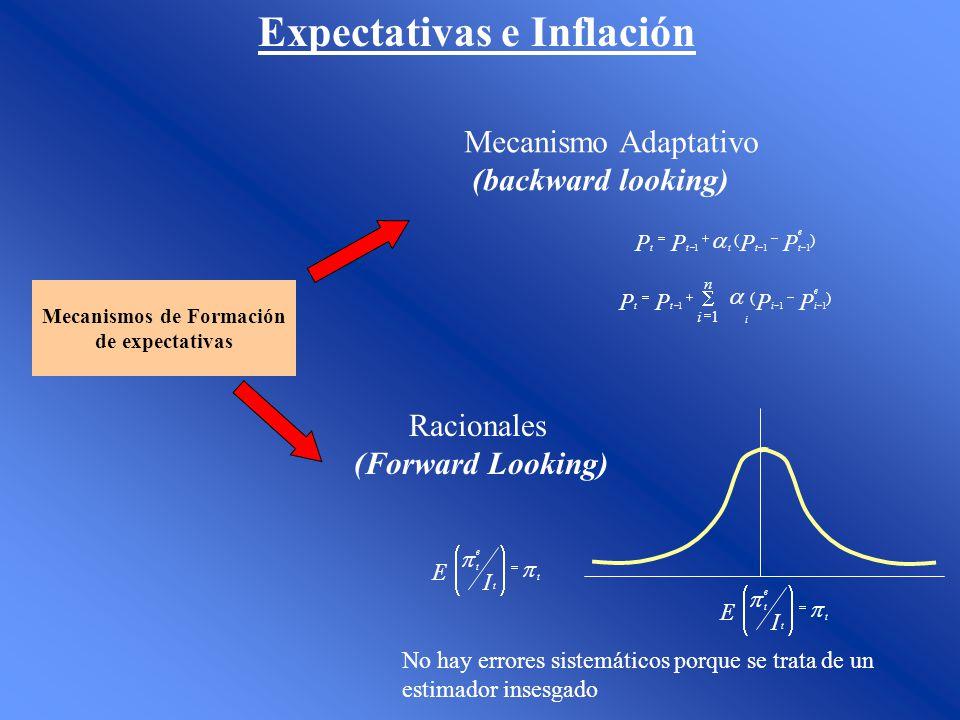Expectativas e Inflación Mecanismos de Formación de expectativas Mecanismo Adaptativo (backward looking) Racionales (Forward Looking) )( 111 PPPP e tt