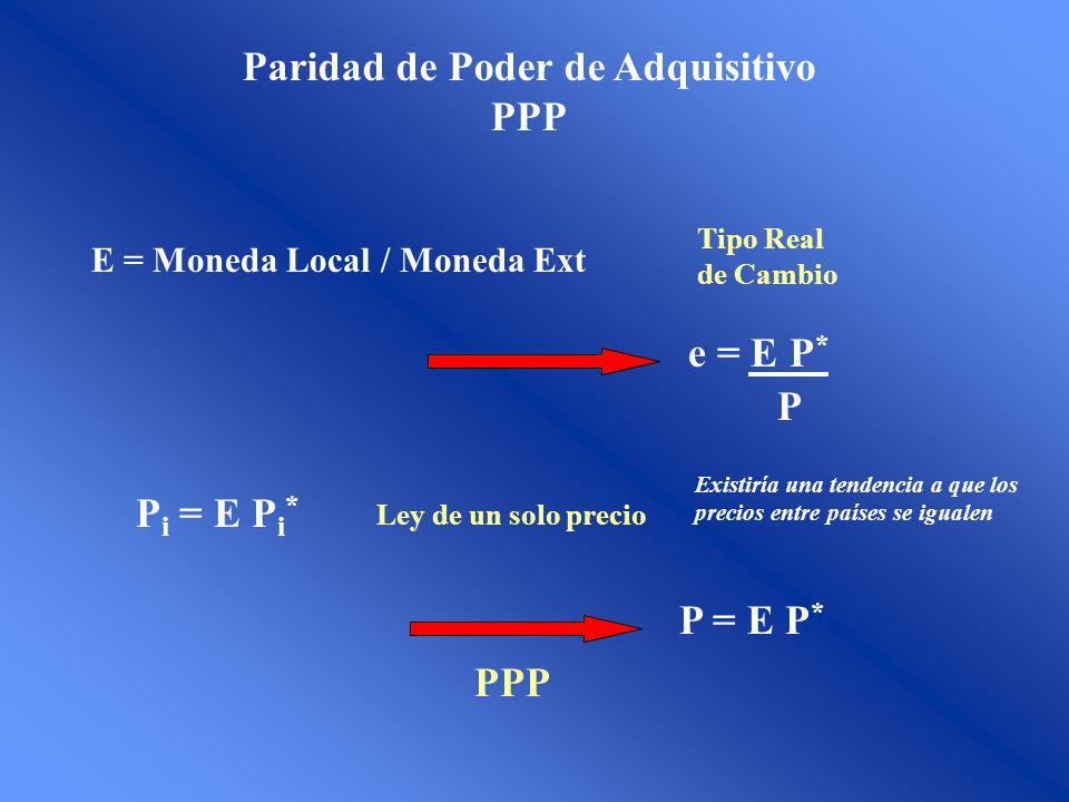 Paridad de Poder de Adquisitivo PPP E = Moneda Local / Moneda Ext e = E P * P Tipo Real de Cambio P i = E P i * Ley de un solo precio P = E P * PPP Ex