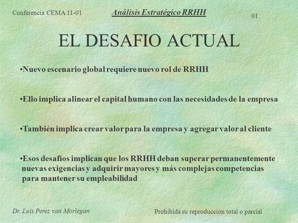 CUANDO PROCEDE EL AERH Compras, fusiones Cambio de objetivos estratégicos Cambio del modelo de gestión Situaciones de Crisis CAMBIO Conferencia CEMA 11-01 02 Dr.