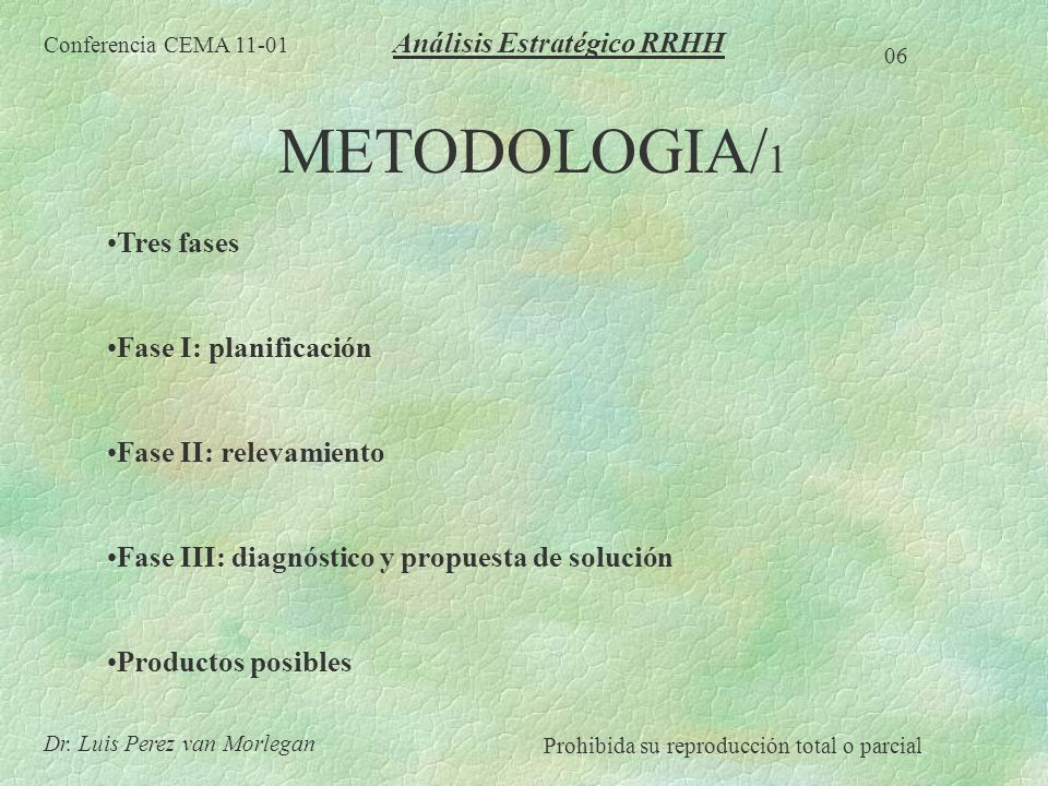 METODOLOGIA/ 1 Tres fases Fase I: planificación Fase II: relevamiento Fase III: diagnóstico y propuesta de solución Productos posibles Conferencia CEM