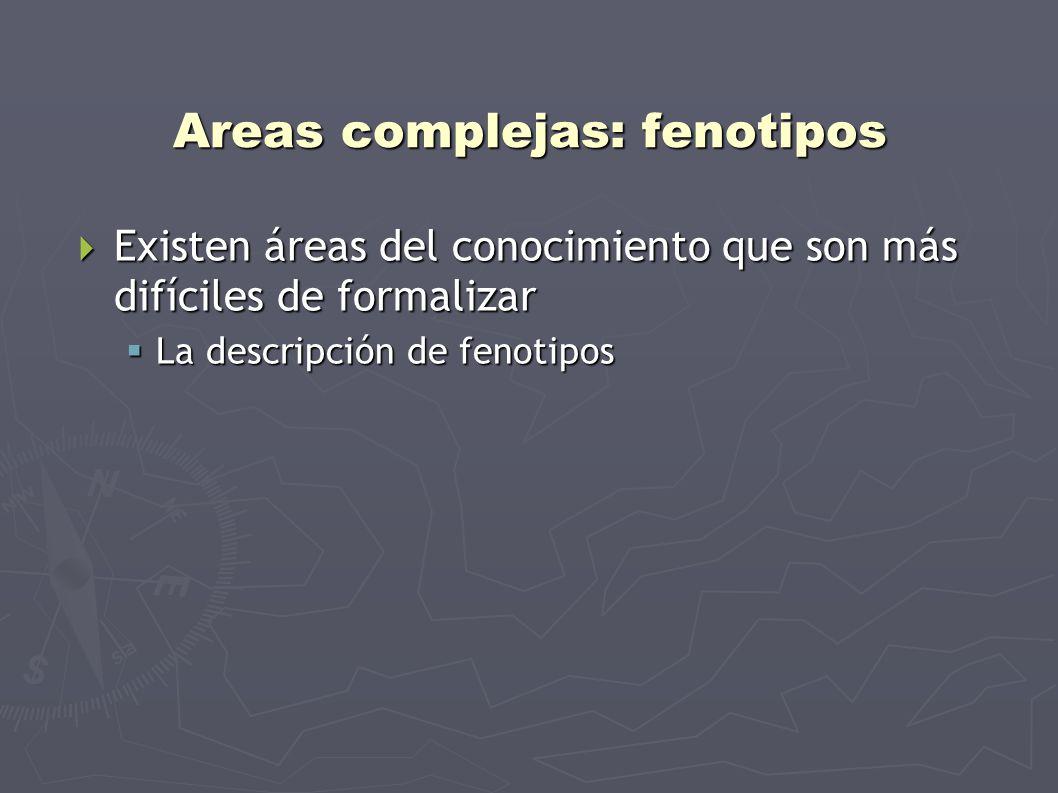 Areas complejas: fenotipos Existen áreas del conocimiento que son más difíciles de formalizar Existen áreas del conocimiento que son más difíciles de