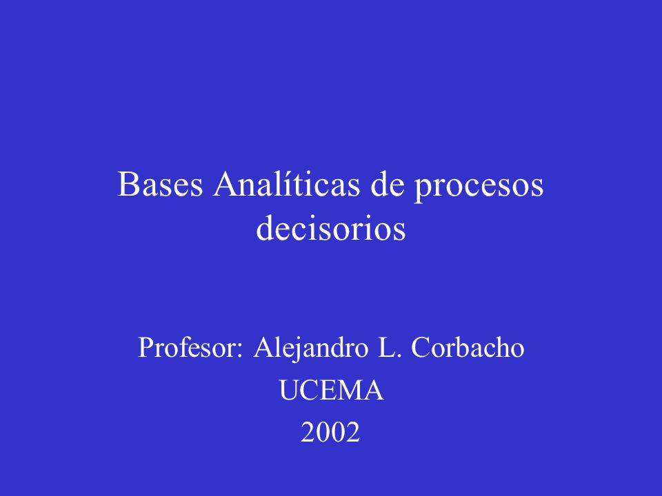 Bases Analíticas de procesos decisorios Profesor: Alejandro L. Corbacho UCEMA 2002
