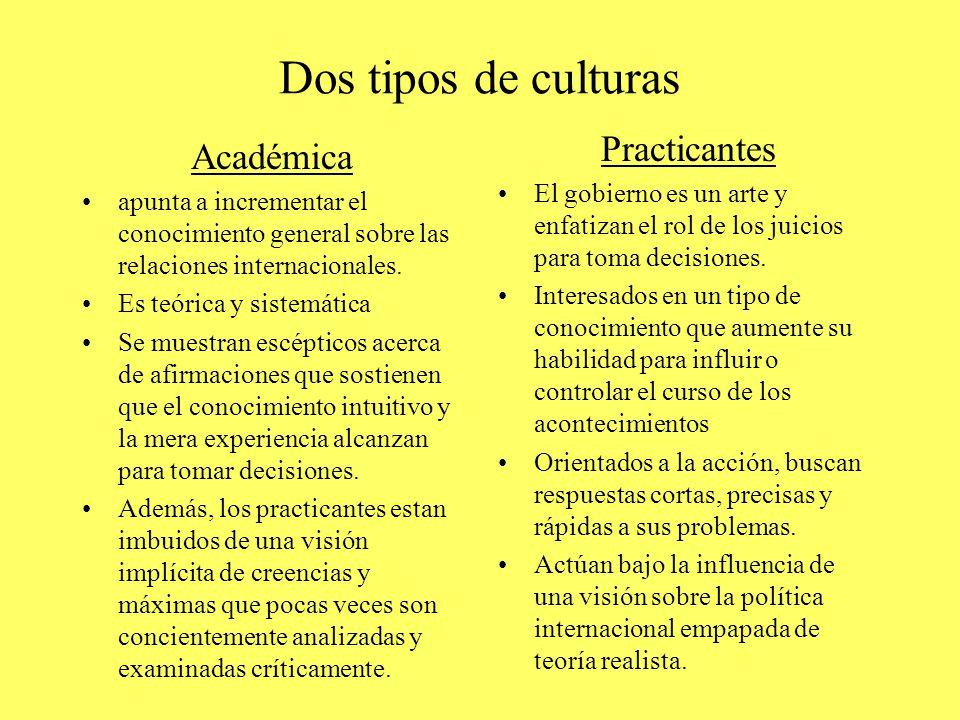 Dos tipos de culturas Académica apunta a incrementar el conocimiento general sobre las relaciones internacionales.