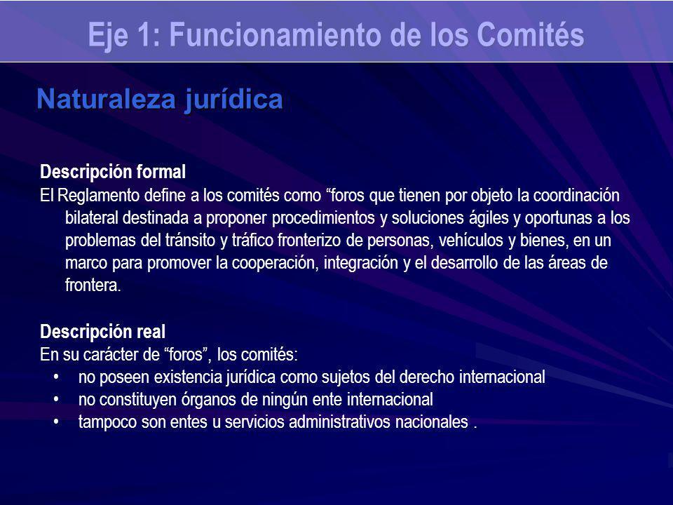 Eje 1: Funcionamiento de los Comités Naturaleza jurídica Descripción formal El Reglamento define a los comités como foros que tienen por objeto la coo