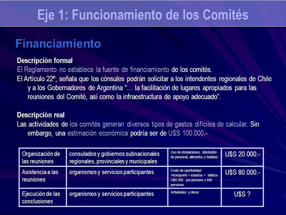 Eje 1: Funcionamiento de los Comités Financiamiento Descripción formal El Reglamento no establece la fuente de financiamiento de los comités. El Artíc