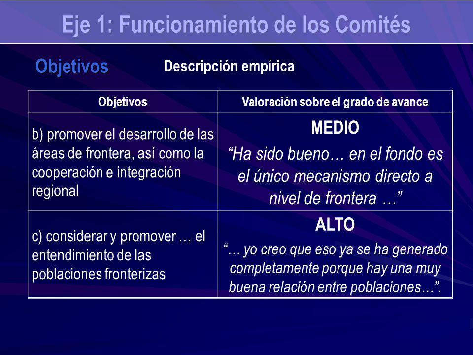 Eje 1: Funcionamiento de los Comités ObjetivosValoración sobre el grado de avance b) promover el desarrollo de las áreas de frontera, así como la coop