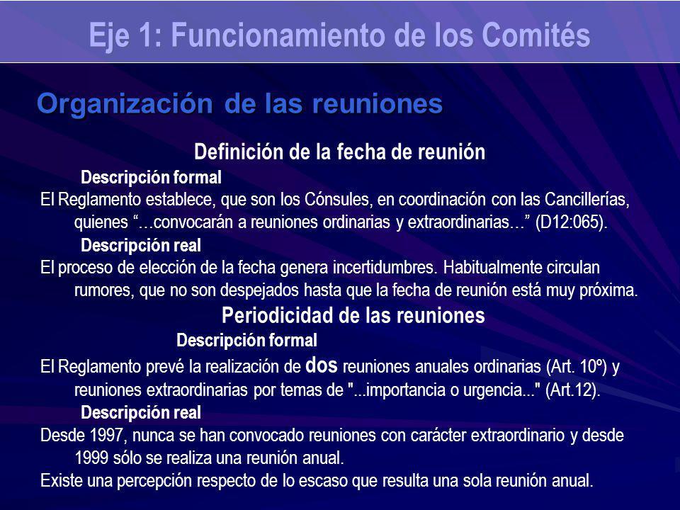 Eje 1: Funcionamiento de los Comités Organización de las reuniones Definición de la fecha de reunión Descripción formal El Reglamento establece, que son los Cónsules, en coordinación con las Cancillerías, quienes …convocarán a reuniones ordinarias y extraordinarias… (D12:065).