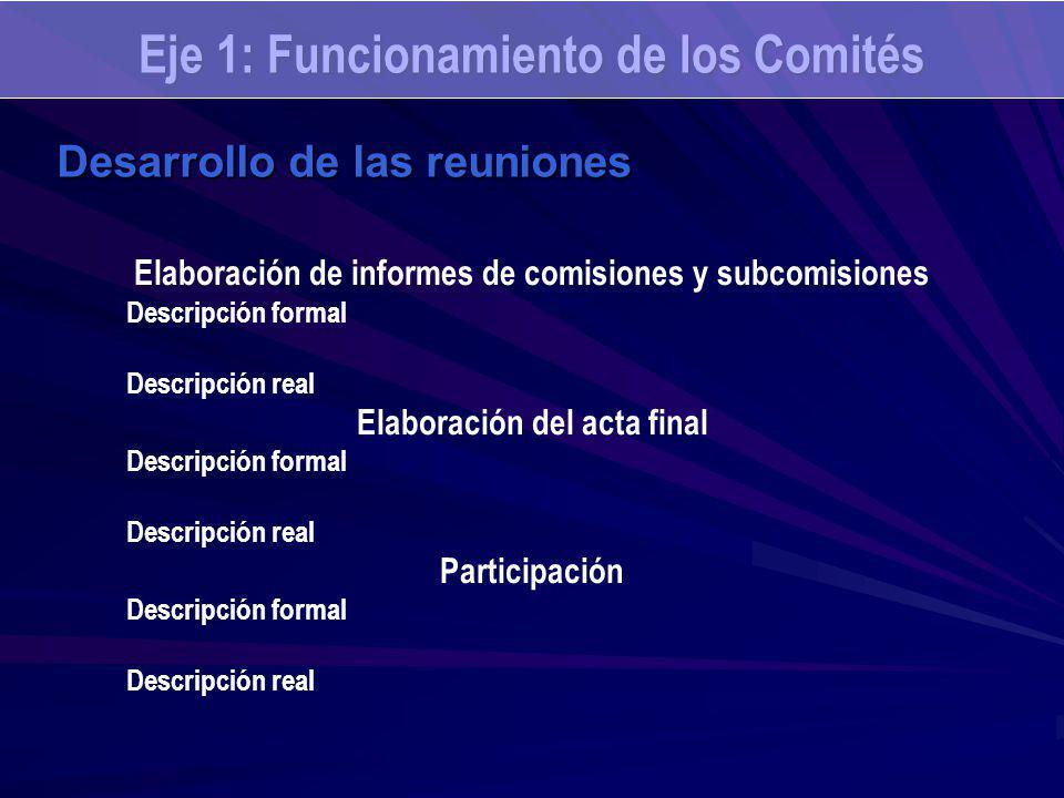 Eje 1: Funcionamiento de los Comités Desarrollo de las reuniones Elaboración de informes de comisiones y subcomisiones Descripción formal Descripción real Elaboración del acta final Descripción formal Descripción real Participación Descripción formal Descripción real