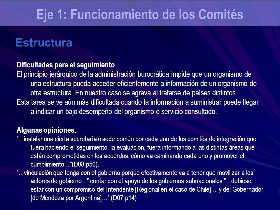 Eje 1: Funcionamiento de los Comités Estructura Dificultades para el seguimiento El principio jerárquico de la administración burocrática impide que u