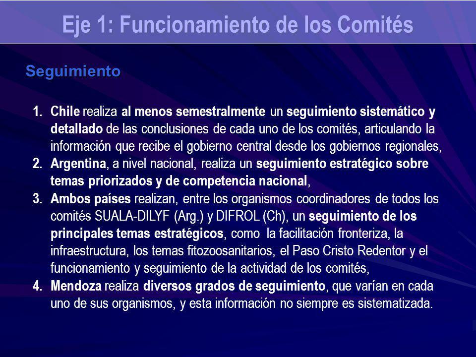 Seguimiento 1.Chile realiza al menos semestralmente un seguimiento sistemático y detallado de las conclusiones de cada uno de los comités, articulando la información que recibe el gobierno central desde los gobiernos regionales, 2.Argentina, a nivel nacional, realiza un seguimiento estratégico sobre temas priorizados y de competencia nacional, 3.Ambos países realizan, entre los organismos coordinadores de todos los comités SUALA-DILYF (Arg.) y DIFROL (Ch), un seguimiento de los principales temas estratégicos, como la facilitación fronteriza, la infraestructura, los temas fitozoosanitarios, el Paso Cristo Redentor y el funcionamiento y seguimiento de la actividad de los comités, 4.Mendoza realiza diversos grados de seguimiento, que varían en cada uno de sus organismos, y esta información no siempre es sistematizada.