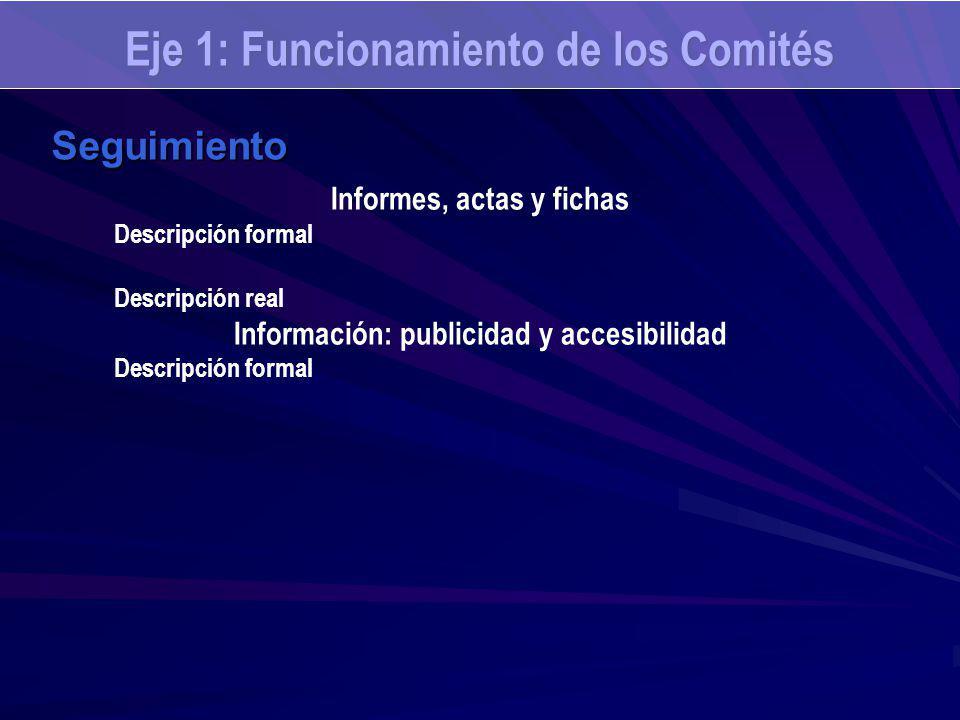 Seguimiento Informes, actas y fichas Descripción formal Descripción real Información: publicidad y accesibilidad Descripción formal