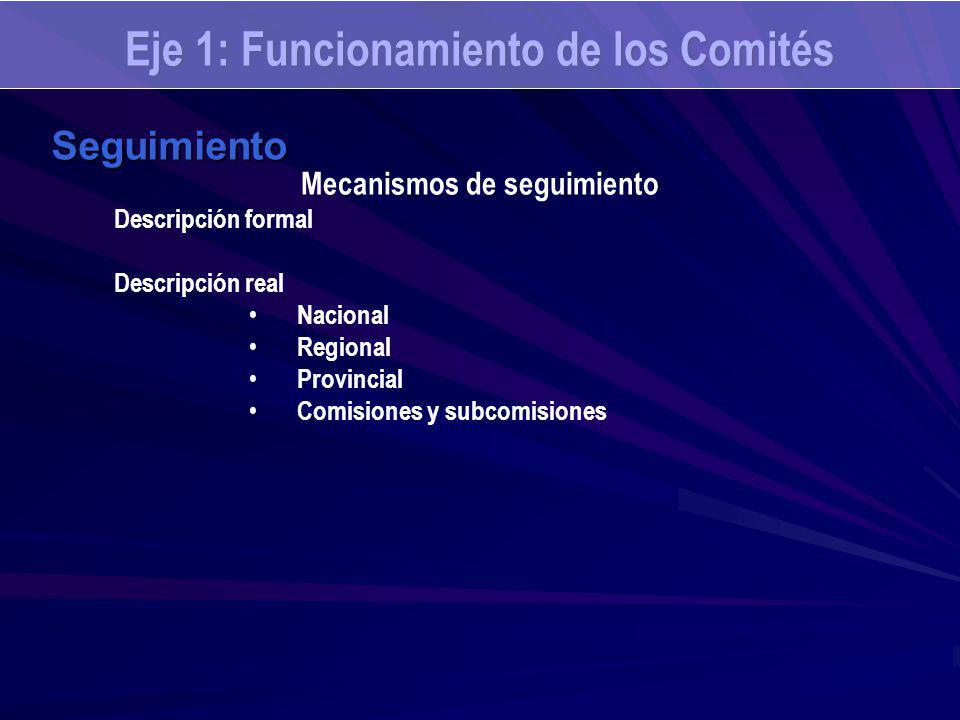 Eje 1: Funcionamiento de los Comités Seguimiento Mecanismos de seguimiento Descripción formal Descripción real Nacional Regional Provincial Comisiones y subcomisiones