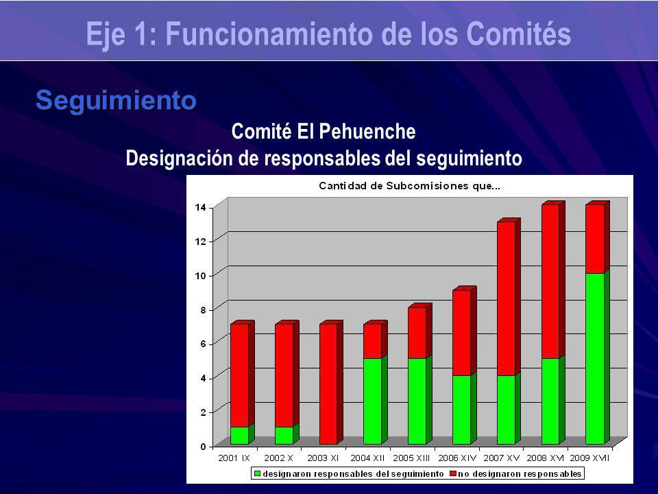 Eje 1: Funcionamiento de los Comités Seguimiento Comité El Pehuenche Designación de responsables del seguimiento