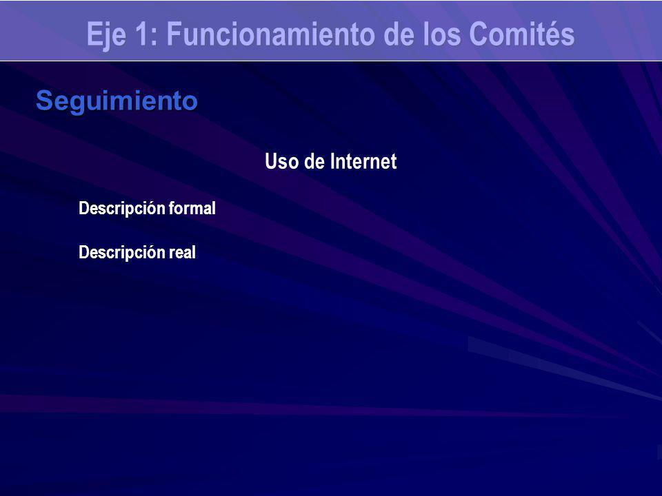 Eje 1: Funcionamiento de los Comités Seguimiento Uso de Internet Descripción formal Descripción real