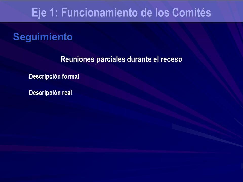Eje 1: Funcionamiento de los Comités Seguimiento Reuniones parciales durante el receso Descripción formal Descripción real