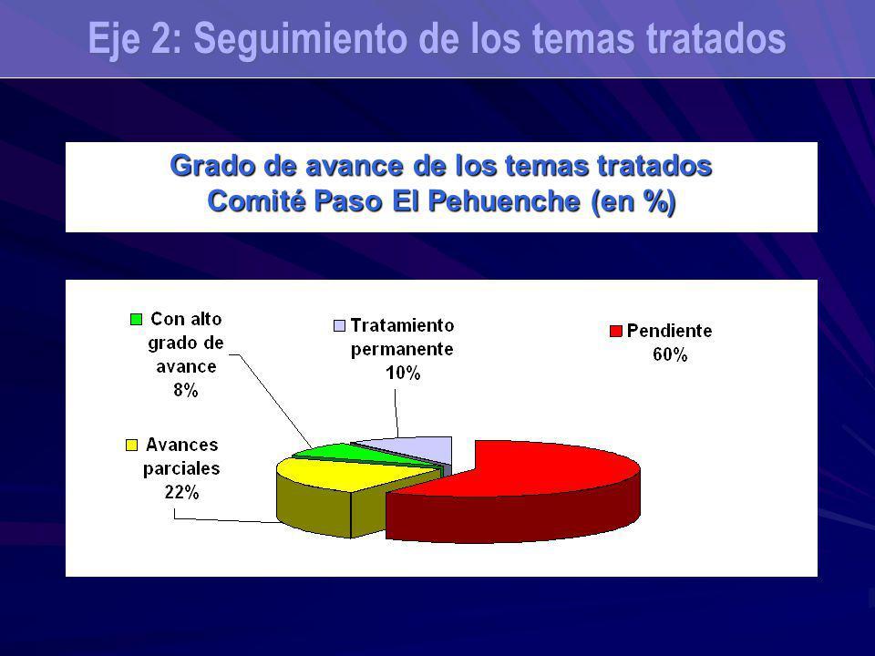 Grado de avance de los temas tratados Comité Paso El Pehuenche (en %) Eje 2: Seguimiento de los temas tratados