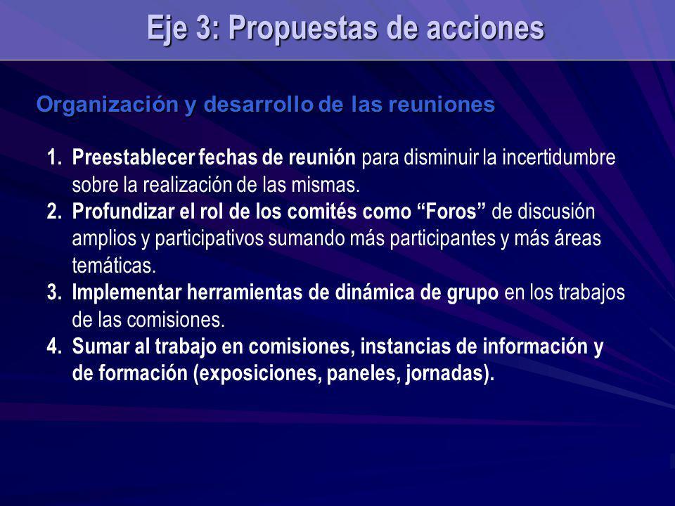 Organización y desarrollo de las reuniones 1.Preestablecer fechas de reunión para disminuir la incertidumbre sobre la realización de las mismas. 2.Pro