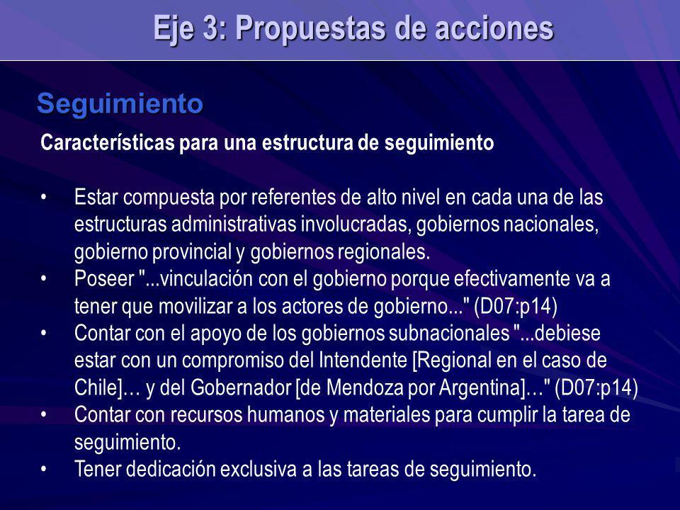 Seguimiento Características para una estructura de seguimiento Estar compuesta por referentes de alto nivel en cada una de las estructuras administrativas involucradas, gobiernos nacionales, gobierno provincial y gobiernos regionales.