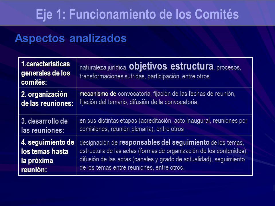 Eje 1: Funcionamiento de los Comités Aspectos analizados 1.características generales de los comités: naturaleza jurídica, objetivos, estructura, procesos, transformaciones sufridas, participación, entre otros 2.