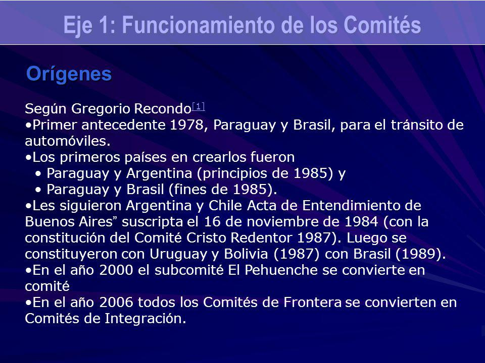 Eje 1: Funcionamiento de los Comités Orígenes Seg ú n Gregorio Recondo [1] [1] Primer antecedente 1978, Paraguay y Brasil, para el tr á nsito de autom
