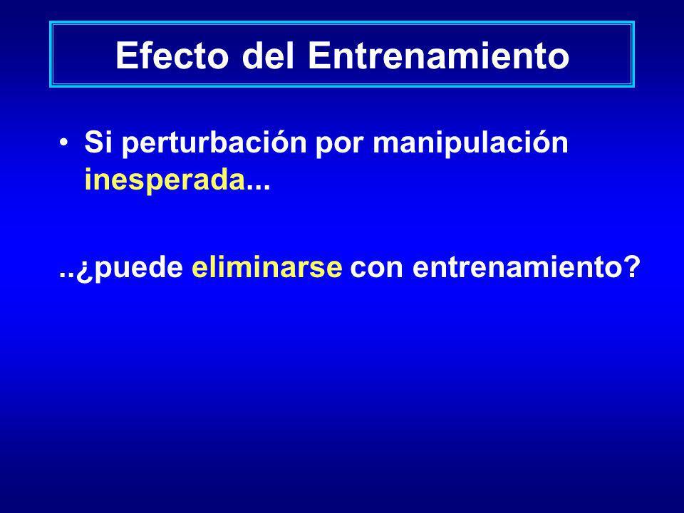 Efecto del Entrenamiento Si perturbación por manipulación inesperada.....¿puede eliminarse con entrenamiento?