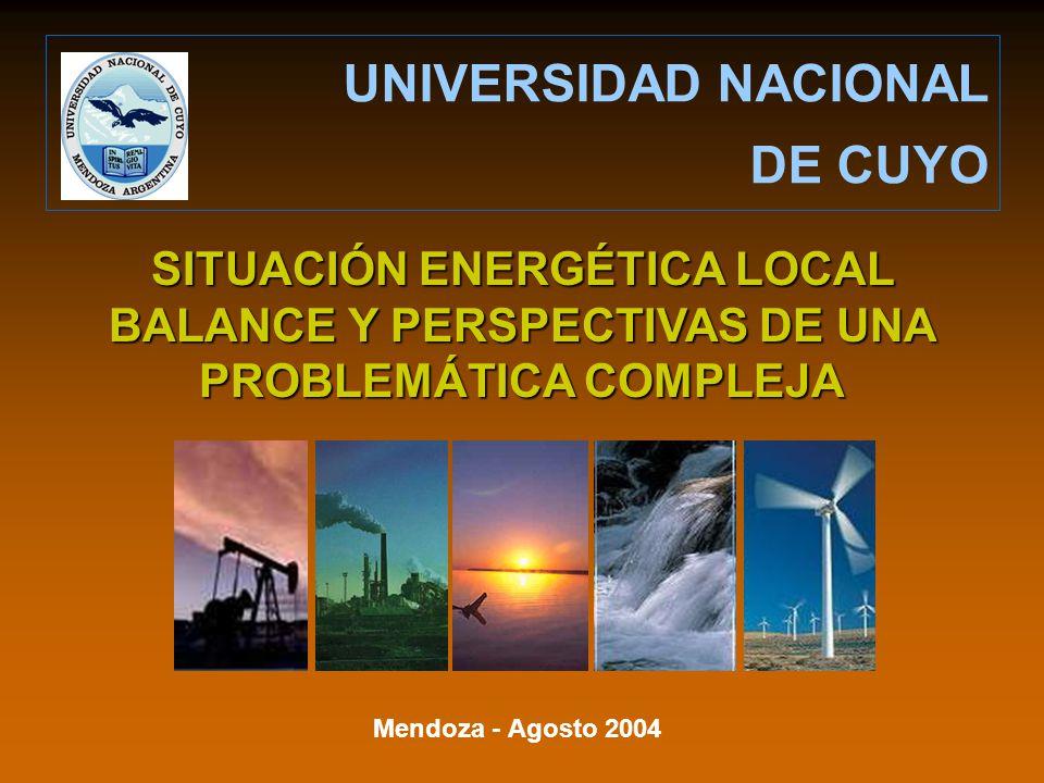 Mendoza - Agosto 2004 UNIVERSIDAD NACIONAL DE CUYO SITUACIÓN ENERGÉTICA LOCAL BALANCE Y PERSPECTIVAS DE UNA PROBLEMÁTICA COMPLEJA