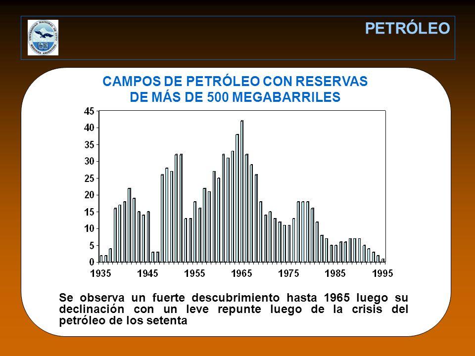 CAMPOS DE PETRÓLEO CON RESERVAS DE MÁS DE 500 MEGABARRILES PETRÓLEO Se observa un fuerte descubrimiento hasta 1965 luego su declinación con un leve repunte luego de la crisis del petróleo de los setenta