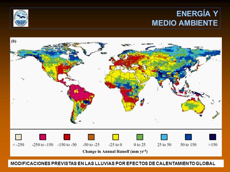 MODIFICACIONES PREVISTAS EN LAS LLUVIAS POR EFECTOS DE CALENTAMIENTO GLOBAL ENERGÍA Y MEDIO AMBIENTE