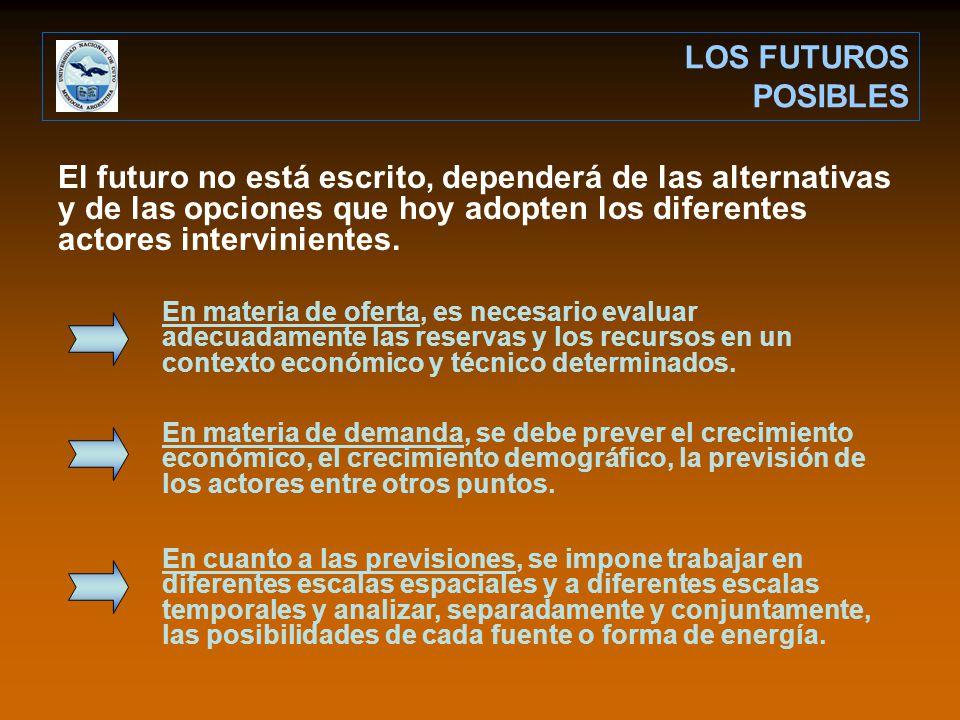 El futuro no está escrito, dependerá de las alternativas y de las opciones que hoy adopten los diferentes actores intervinientes.