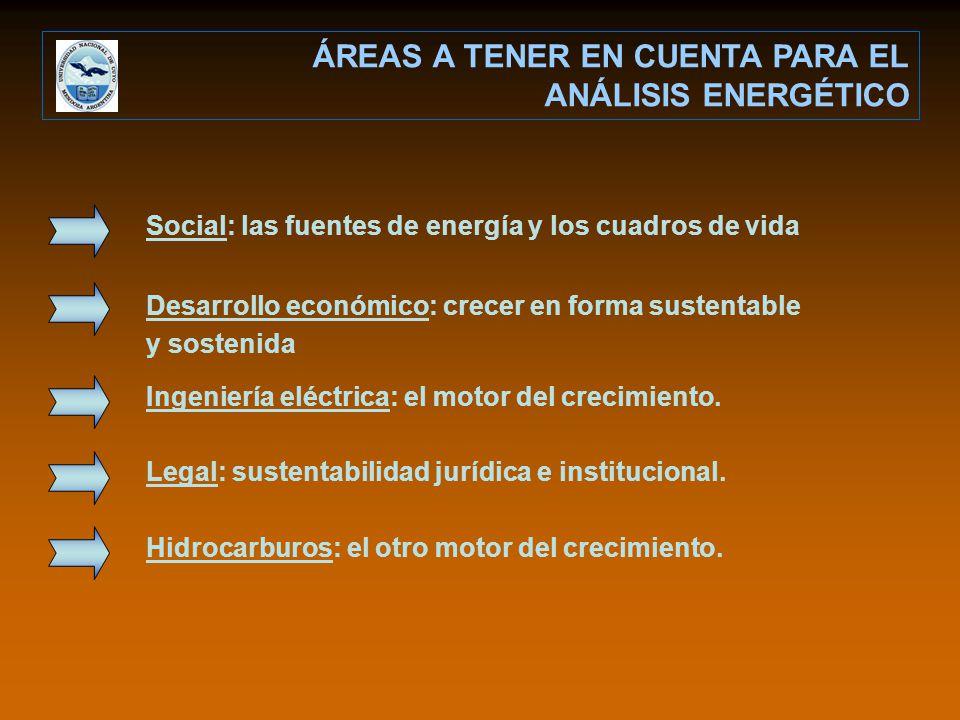 ÁREAS A TENER EN CUENTA PARA EL ANÁLISIS ENERGÉTICO Social: las fuentes de energía y los cuadros de vida Desarrollo económico: crecer en forma sustentable y sostenida Ingeniería eléctrica: el motor del crecimiento.