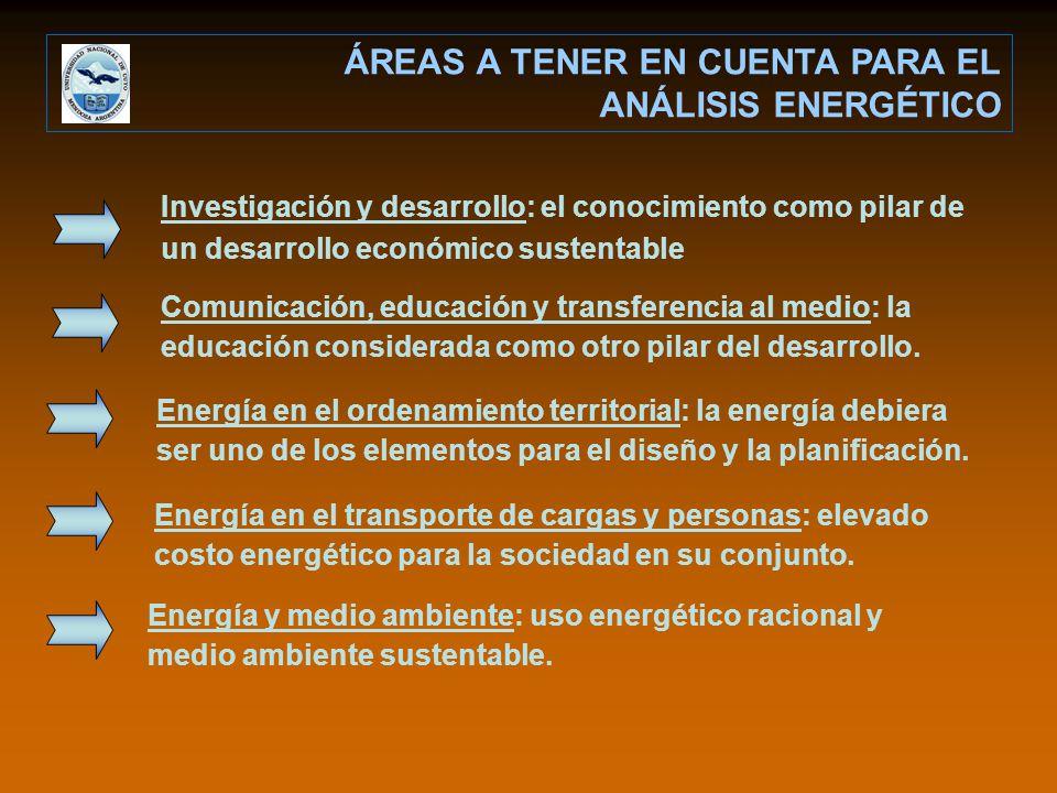 ÁREAS A TENER EN CUENTA PARA EL ANÁLISIS ENERGÉTICO Investigación y desarrollo: el conocimiento como pilar de un desarrollo económico sustentable Comu