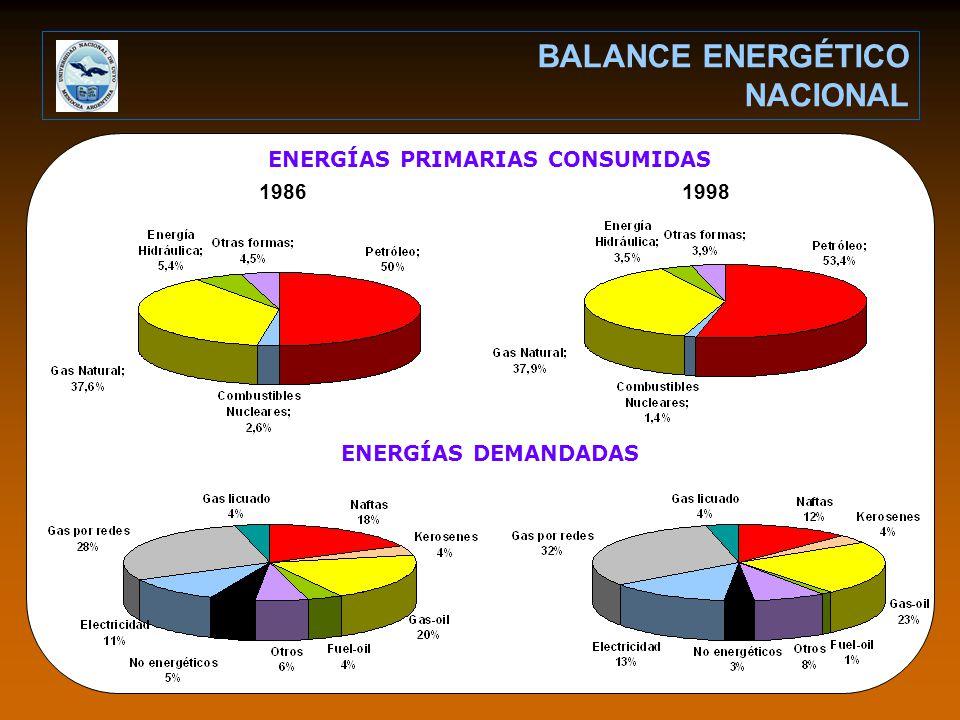 1986 BALANCE ENERGÉTICO NACIONAL 1998 ENERGÍAS PRIMARIAS CONSUMIDAS ENERGÍAS DEMANDADAS