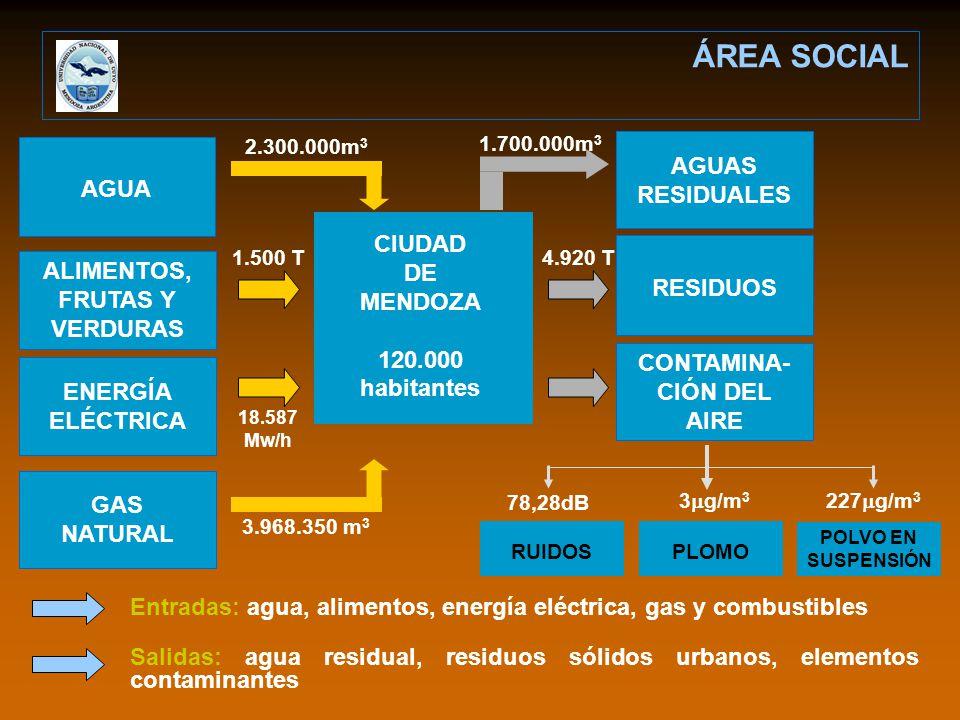 Entradas: agua, alimentos, energía eléctrica, gas y combustibles Salidas: agua residual, residuos sólidos urbanos, elementos contaminantes AGUA ALIMENTOS, FRUTAS Y VERDURAS ENERGÍA ELÉCTRICA GAS NATURAL RESIDUOS CONTAMINA- CIÓN DEL AIRE AGUAS RESIDUALES PLOMO POLVO EN SUSPENSIÓN RUIDOS 2.300.000m 3 1.500 T 18.587 Mw/h 3.968.350 m 3 1.700.000m 3 4.920 T 78,28dB 3 g/m 3 227 g/m 3 CIUDAD DE MENDOZA 120.000 habitantes ÁREA SOCIAL