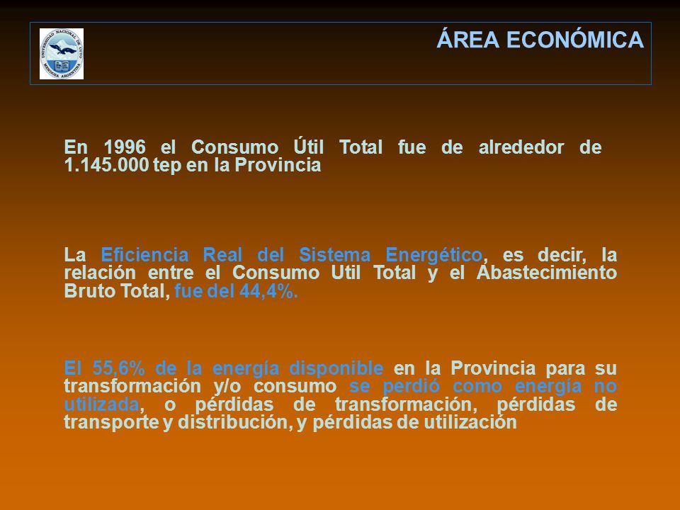 En 1996 el Consumo Útil Total fue de alrededor de 1.145.000 tep en la Provincia La Eficiencia Real del Sistema Energético, es decir, la relación entre el Consumo Util Total y el Abastecimiento Bruto Total, fue del 44,4%.