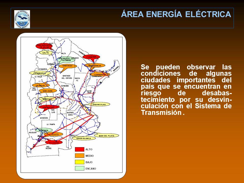 Se pueden observar las condiciones de algunas ciudades importantes del país que se encuentran en riesgo de desabas- tecimiento por su desvin- culación con el Sistema de Transmisión.