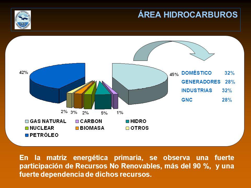 DOMÉSTICO 32% GENERADORES 28% INDUSTRIAS 32% GNC 28% En la matriz energética primaria, se observa una fuerte participación de Recursos No Renovables, más del 90 %, y una fuerte dependencia de dichos recursos.