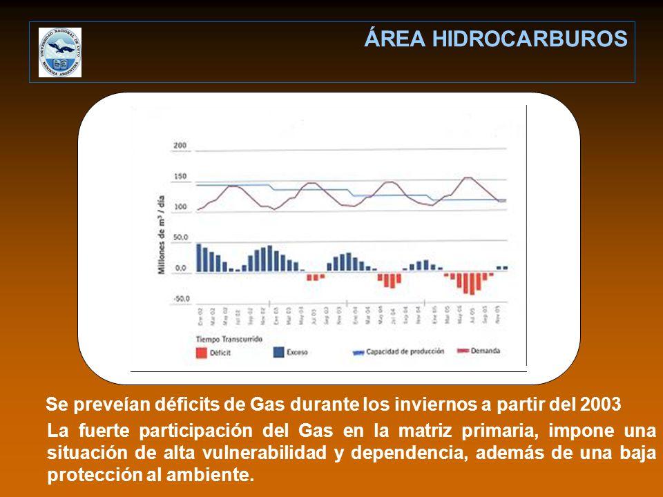 Se preveían déficits de Gas durante los inviernos a partir del 2003 ÁREA HIDROCARBUROS La fuerte participación del Gas en la matriz primaria, impone una situación de alta vulnerabilidad y dependencia, además de una baja protección al ambiente.