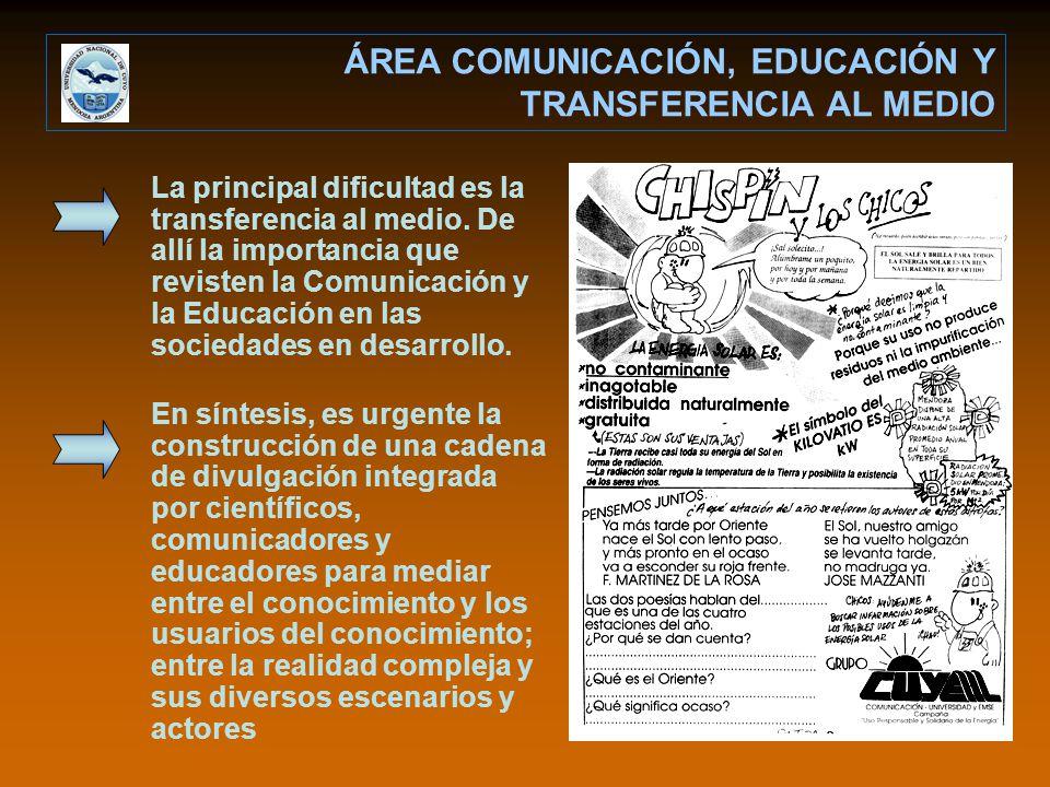 ÁREA COMUNICACIÓN, EDUCACIÓN Y TRANSFERENCIA AL MEDIO La principal dificultad es la transferencia al medio. De allí la importancia que revisten la Com
