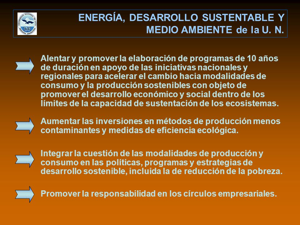 ENERGÍA, DESARROLLO SUSTENTABLE Y MEDIO AMBIENTE de la U. N. Alentar y promover la elaboración de programas de 10 años de duración en apoyo de las ini