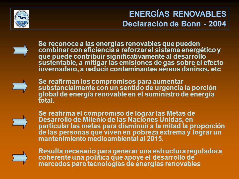 ENERGÍAS RENOVABLES Declaración de Bonn - 2004 Se reconoce a las energías renovables que pueden combinar con eficiencia a reforzar el sistema energético y que puede contribuir significativamente al desarrollo sustentable, a mitigar las emisiones de gas sobre el efecto invernadero, a reducir contaminantes aéreos dañinos, etc Se reafirman los compromisos para aumentar substancialmente con un sentido de urgencia la porción global de energía renovable en el suministro de energía total.