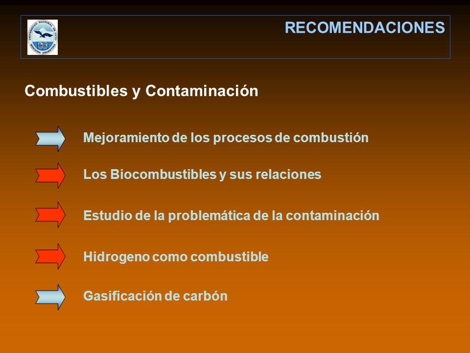 RECOMENDACIONES Mejoramiento de los procesos de combustión Combustibles y Contaminación Los Biocombustibles y sus relaciones Estudio de la problemática de la contaminación Hidrogeno como combustible Gasificación de carbón