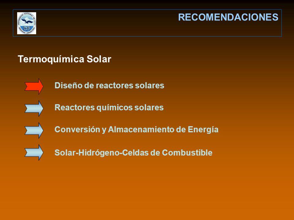 Termoquímica Solar RECOMENDACIONES Diseño de reactores solares Reactores químicos solares Conversión y Almacenamiento de Energía Solar-Hidrógeno-Celda
