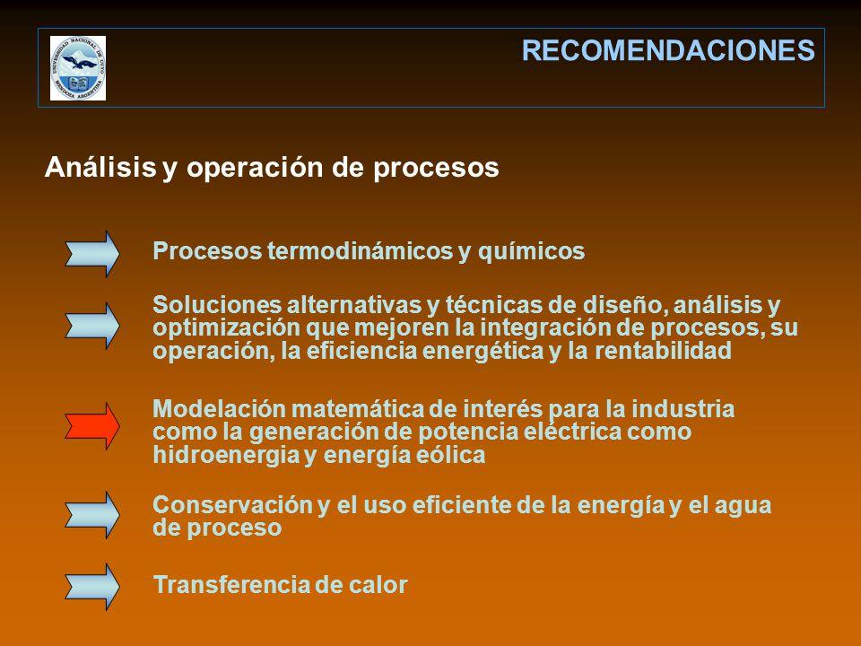 Análisis y operación de procesos RECOMENDACIONES Procesos termodinámicos y químicos Soluciones alternativas y técnicas de diseño, análisis y optimizac